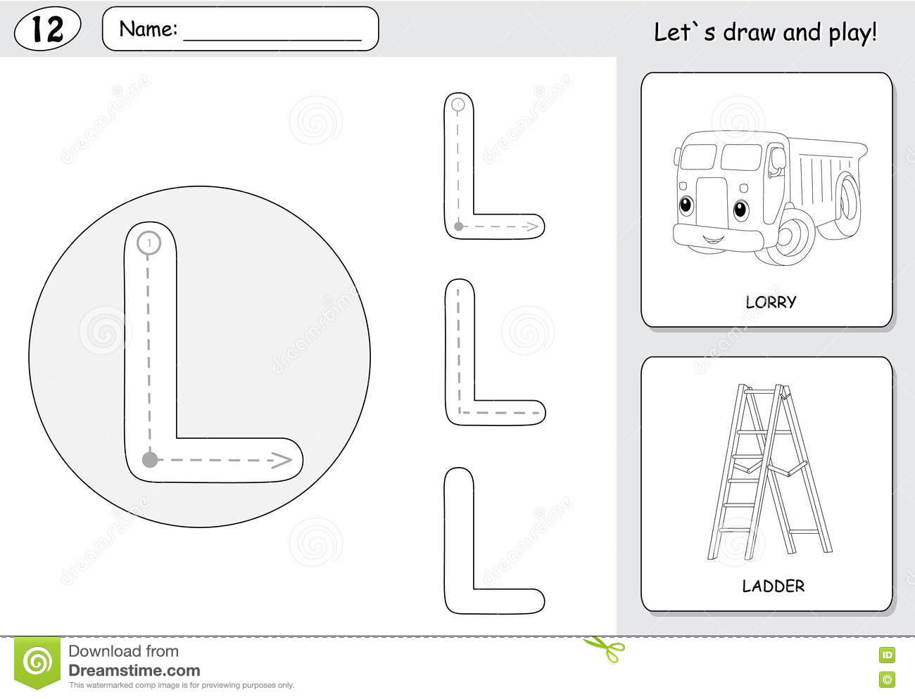 Cartoon Lorry And Ladder Alphabet Tracing Worksheet