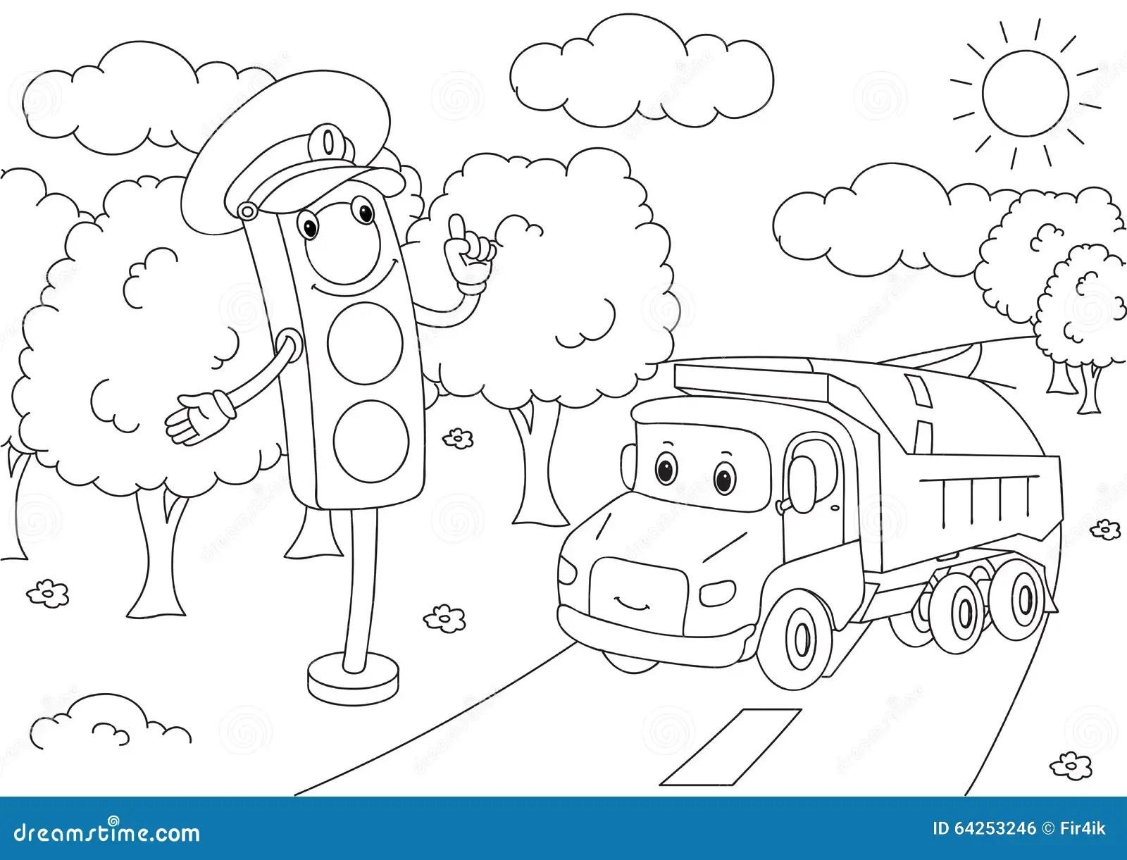 Cartoon Lorry With Traffic Lights Vector Illustration