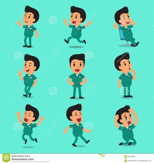 small resolution of cartoon male nurse character poses