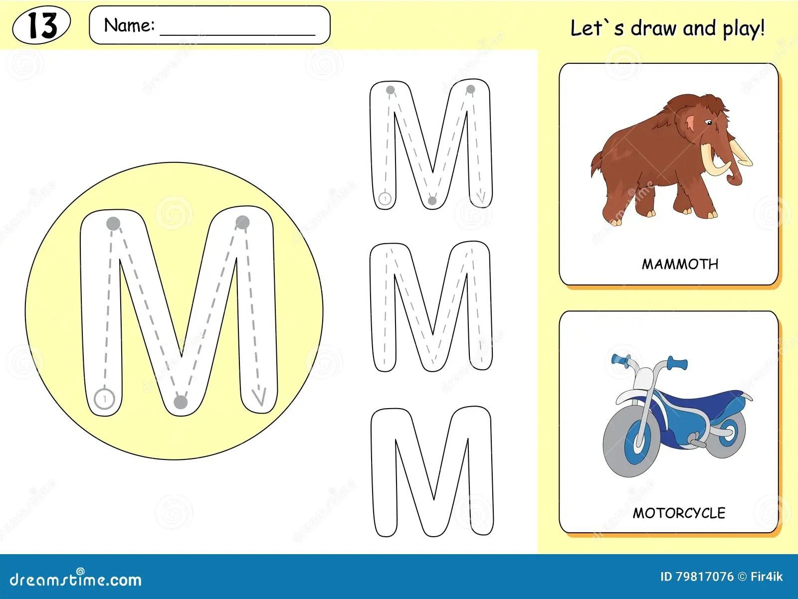 Cartoon Mammoth And Motorcycle Alphabet Tracing Worksheet
