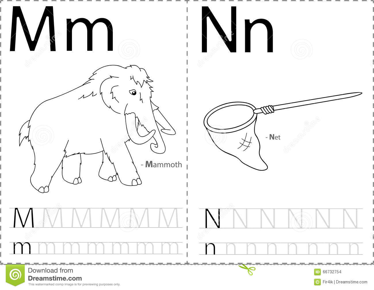Cartoon Mammoth And Net. Alphabet Tracing Worksheet