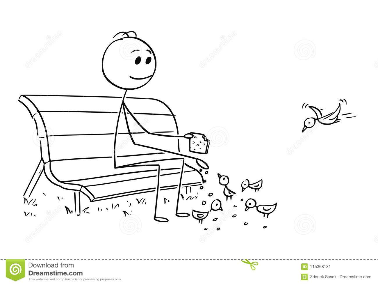 Cartoon Of Man Or Businessman Relaxing On Park Bench And