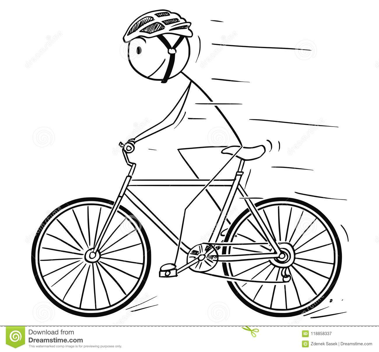 Cartoon Of Man With Helmet Riding On Bicycle Stock Vector