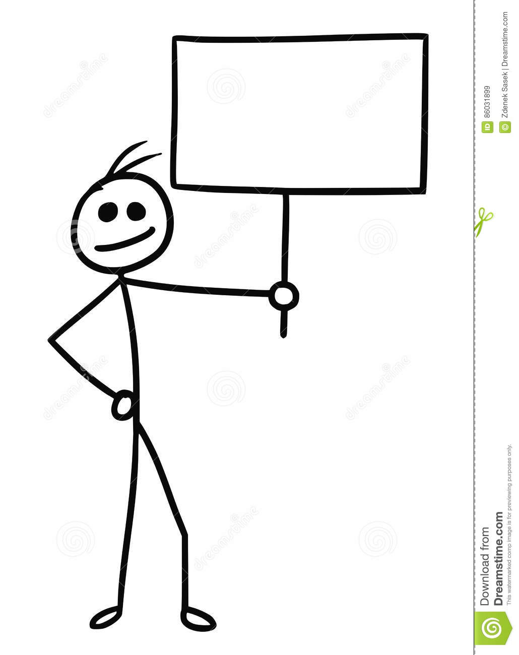 Cartoon Of Man With Sign Stock Vector Illustration Of