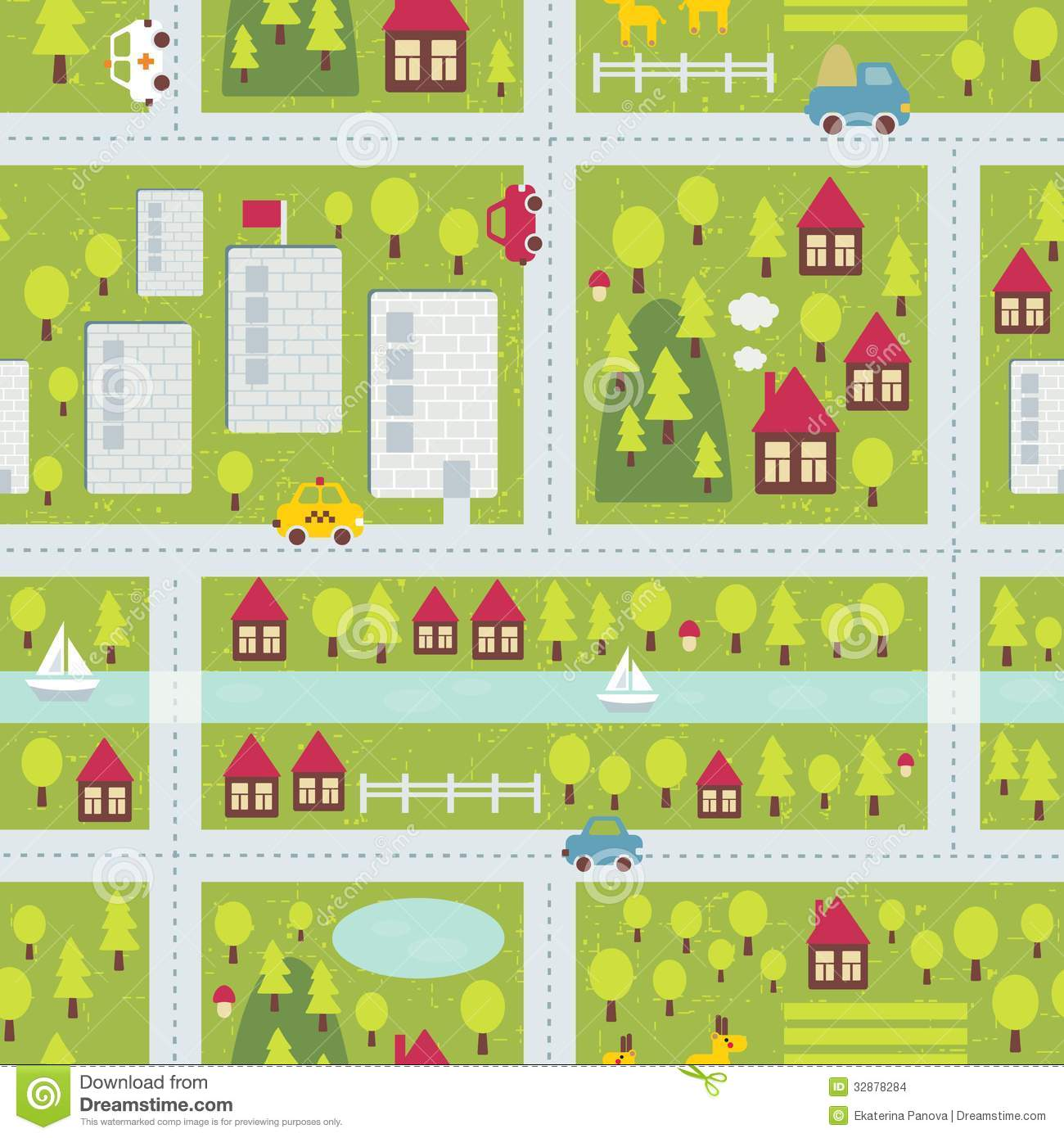 Cartoon Map Pattern Of Small Town Stock Images