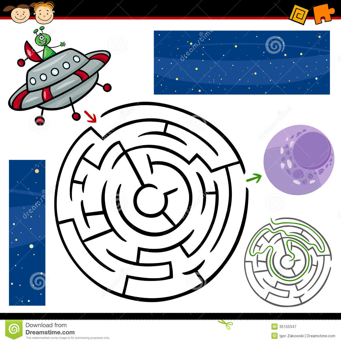 Cartoon Maze Or Labyrinth Game Royalty Free Stock