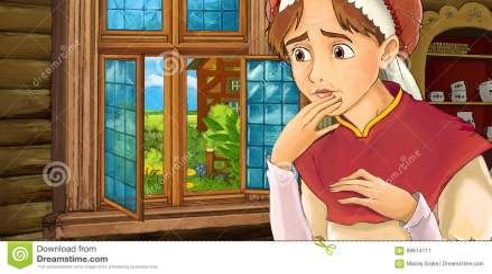 kitchen cartoon medieval scene woman illustration preview