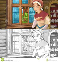 medieval cartoon kitchen woman coloring scene