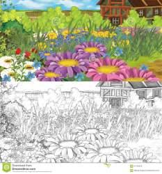coloring medieval cartoon woman scene farm illustration kitchen flowers fairy colorful elf tales children different preview grass dreamstime
