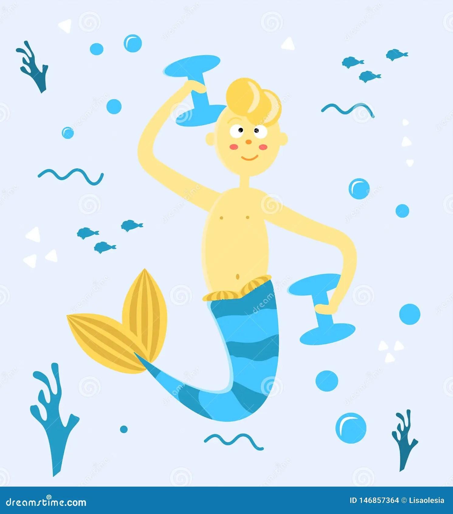 Cute Cartoon Mermaid Cartoon Vector