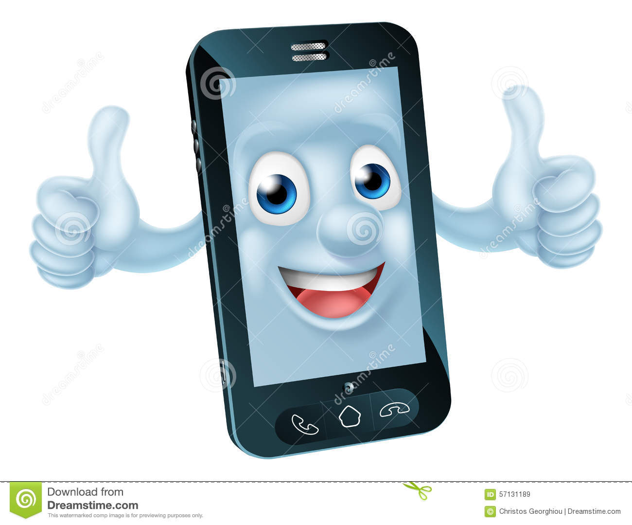 Cartoon Mobile Phone Character Stock Vector
