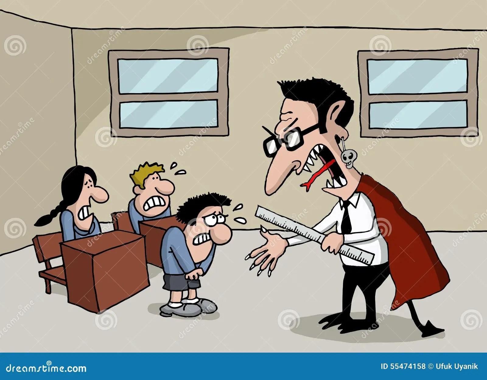 Cartoon Of A Monster Teacher In School Stock Illustration
