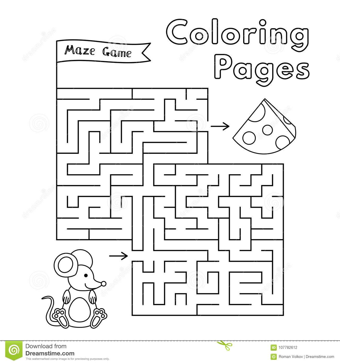 Cartoon Mouse Maze Game Stock Vector Illustration Of