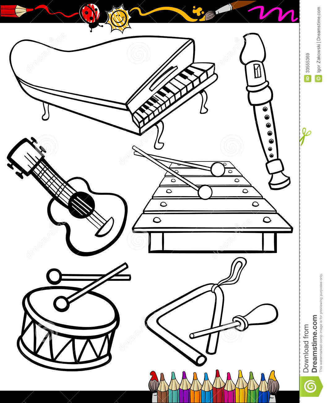 Cartoon Music Instruments Coloring Page Royalty Free Stock