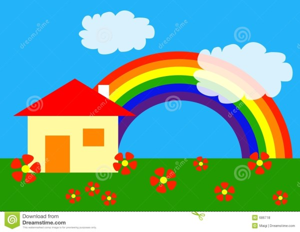 Rainbow Cartoon Homes Pictures