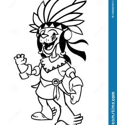 cartoon native american indian character illustration clipart for coloring book  [ 1233 x 1600 Pixel ]