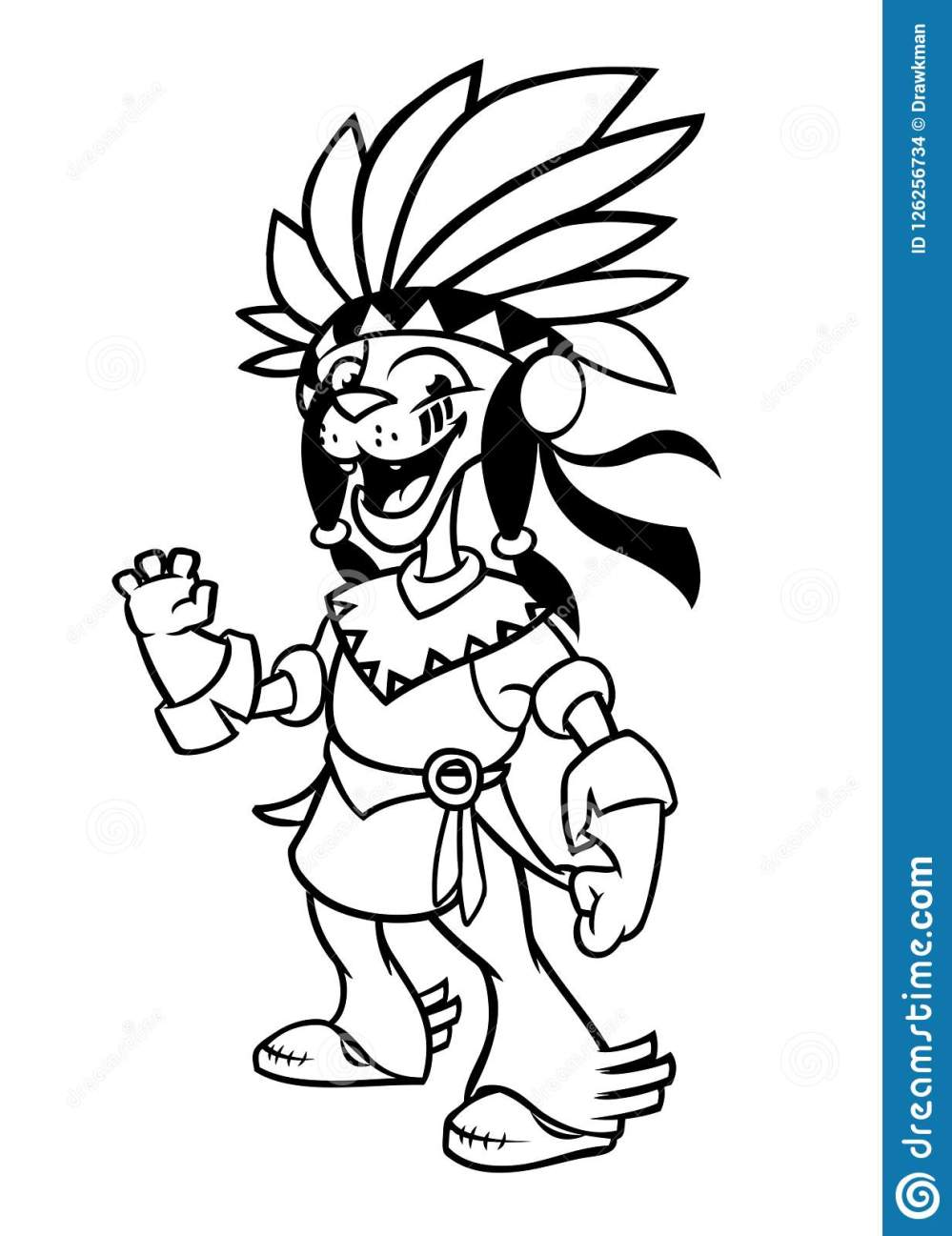 medium resolution of cartoon native american indian character illustration clipart for coloring book