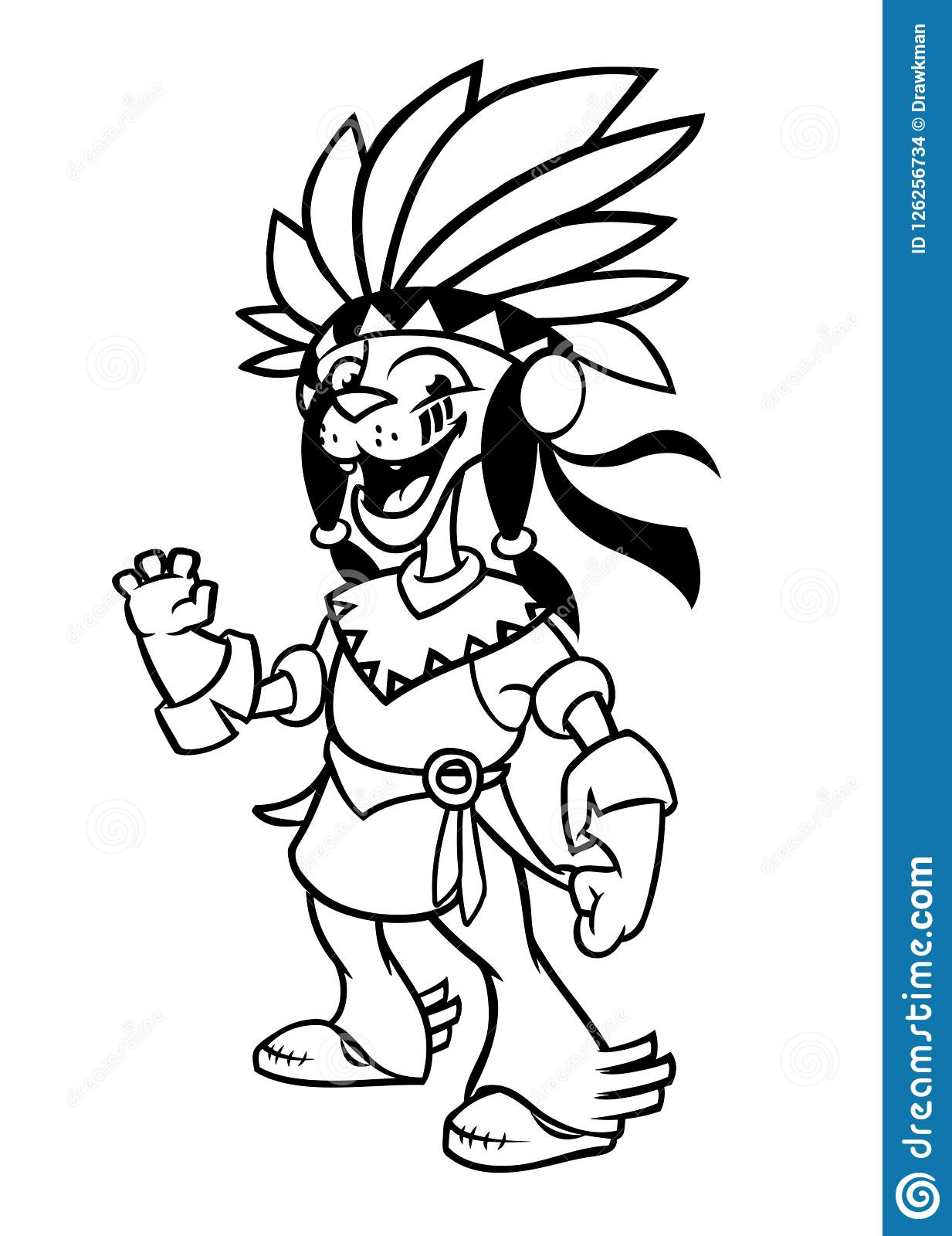 hight resolution of cartoon native american indian character illustration clipart for coloring book