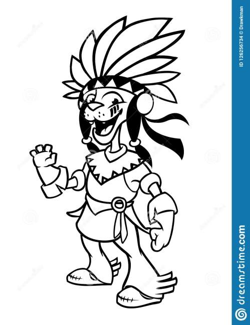 small resolution of cartoon native american indian character illustration clipart for coloring book