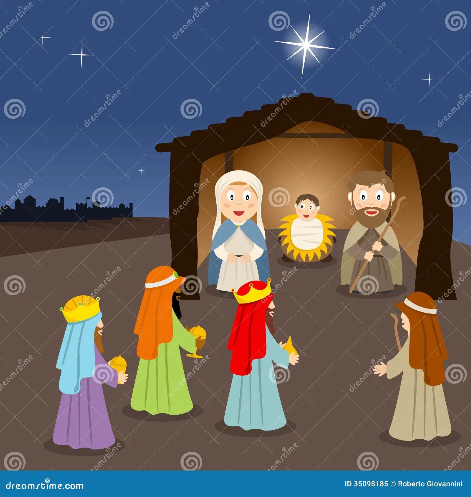 christmas nativity background mary joseph and baby jesus