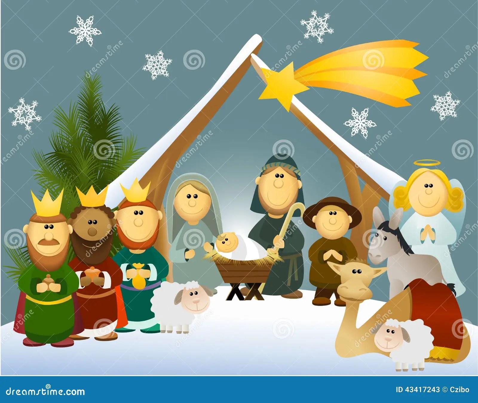 Cartoon Nativity Scene With Holy Family Stock Vector