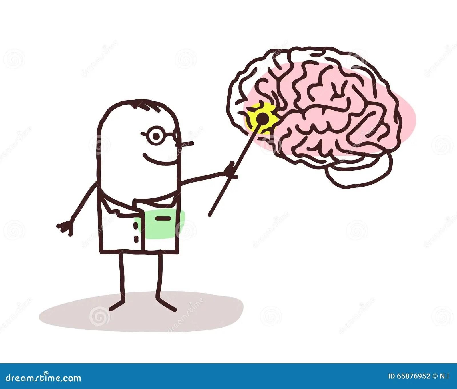 Cartoon Neurologist With Brain Stock Vector