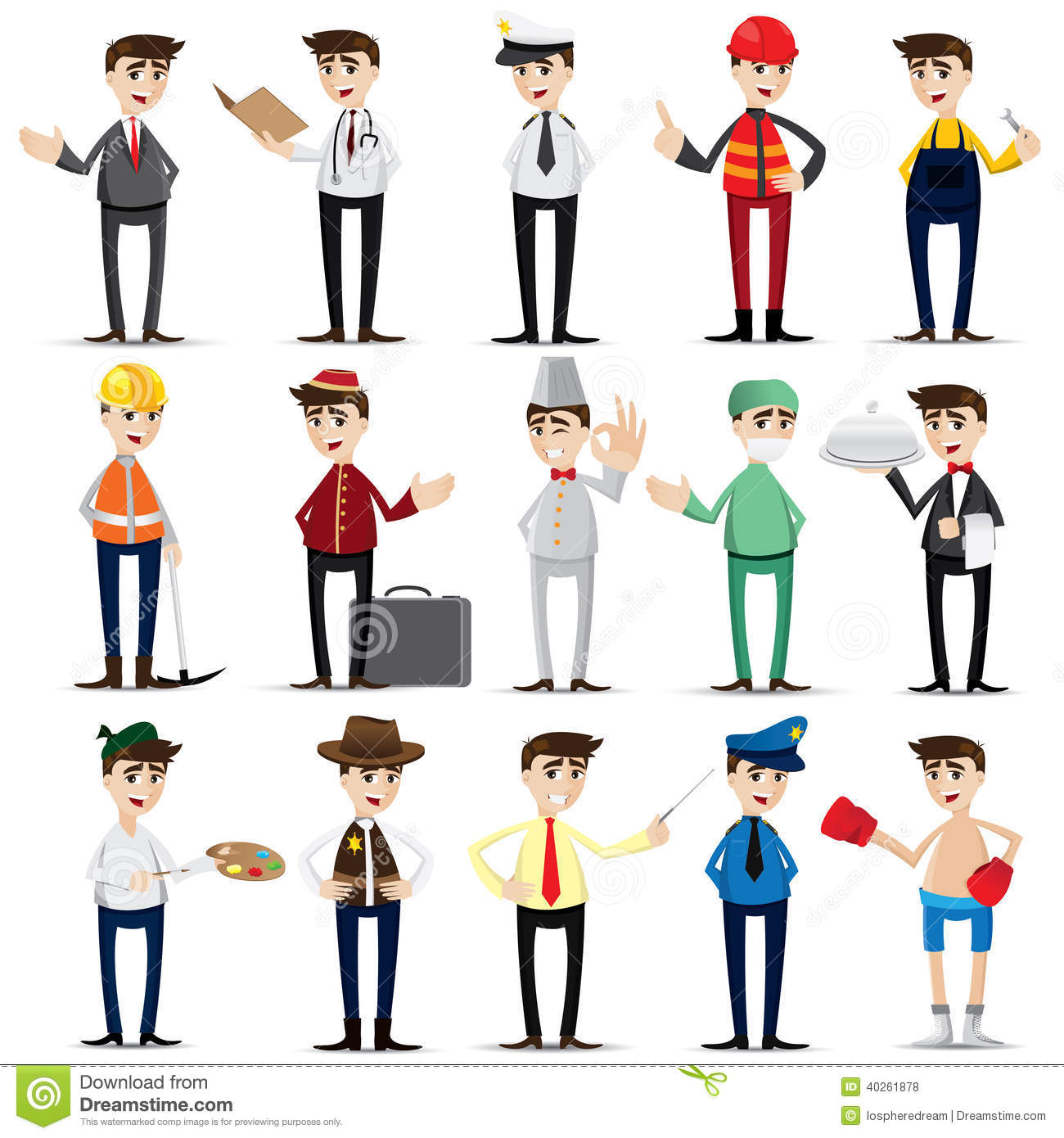 Cartoon Occupation Set Stock Vector