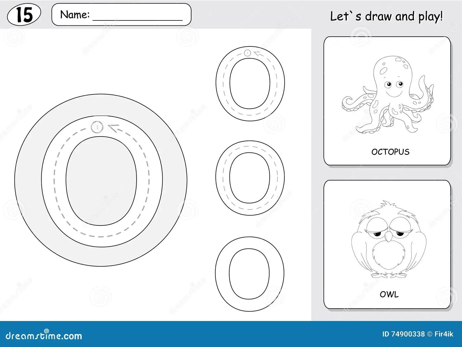 Cartoon Octopus And Owl Alphabet Tracing Worksheet Writing A Z Stock Vector