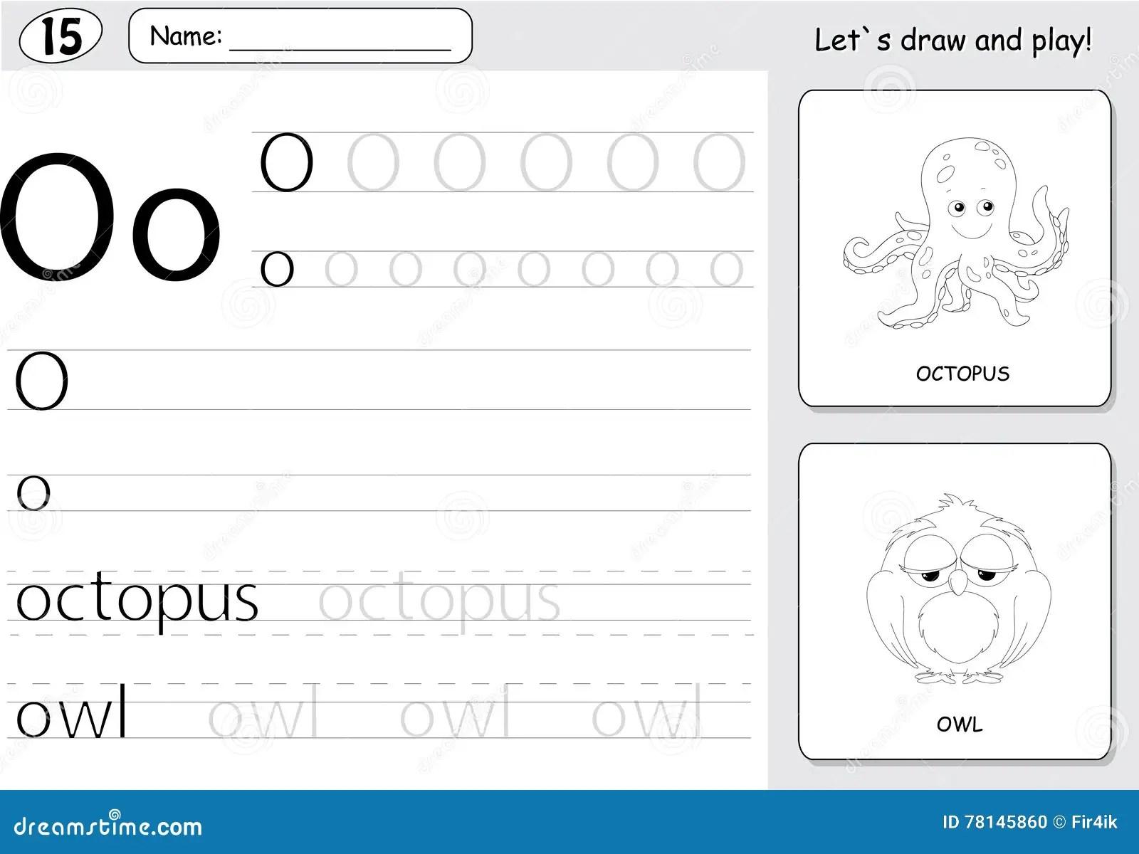 Cartoon Octopus And Owl Alphabet Tracing Worksheet