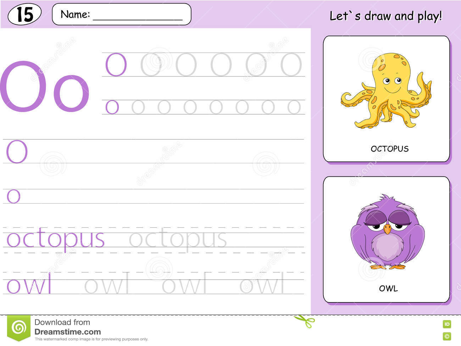 Cartoon Octopus And Owl Alphabet Tracing Worksheet Stock