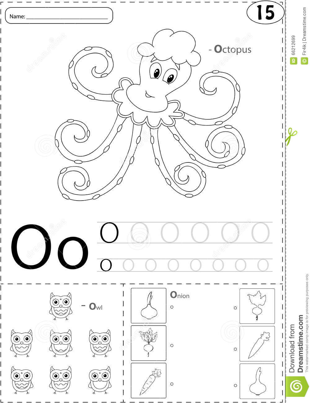 Cartoon Octopus, Owl And Onion. Alphabet Tracing Worksheet