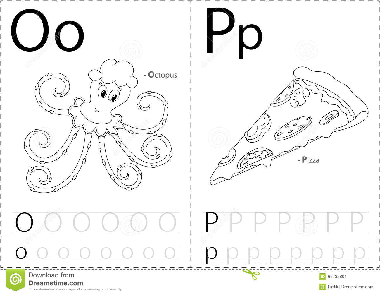 Cartoon Octopus And Pizza. Alphabet Tracing Worksheet