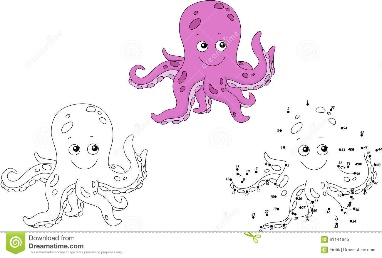 Cartoon Octopus Vector Illustration Coloring And Dot To