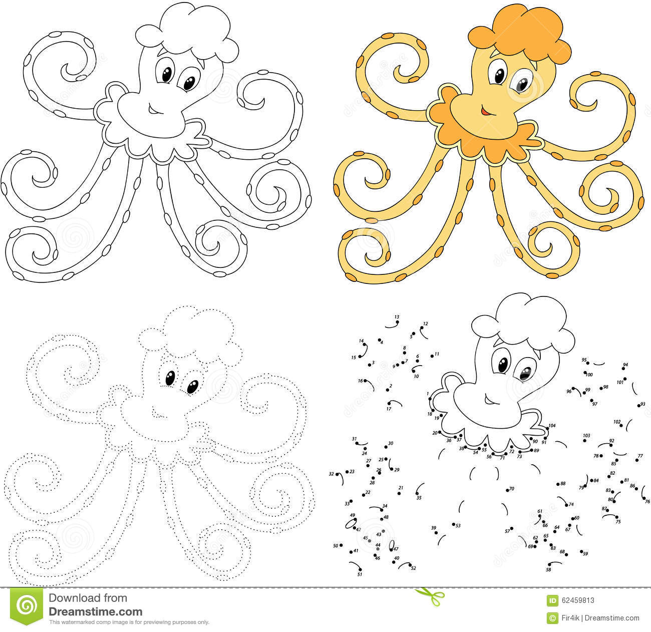 Cartoon Octopus Vector Illustration Dot To Dot Game For