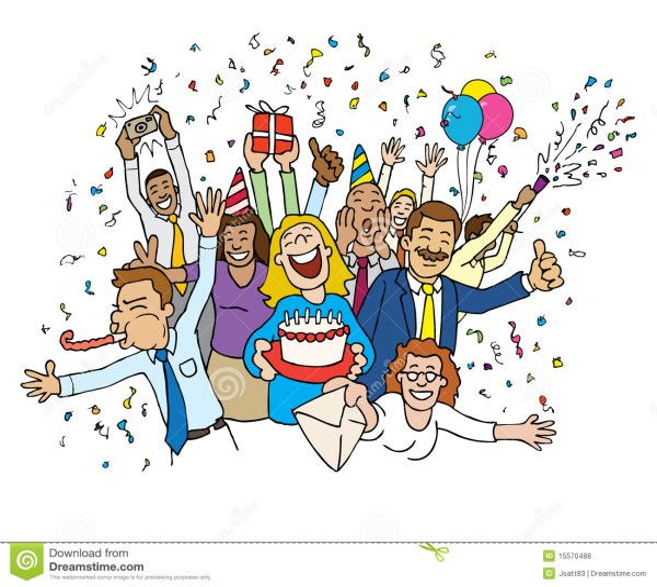 cartoon office celebration stock