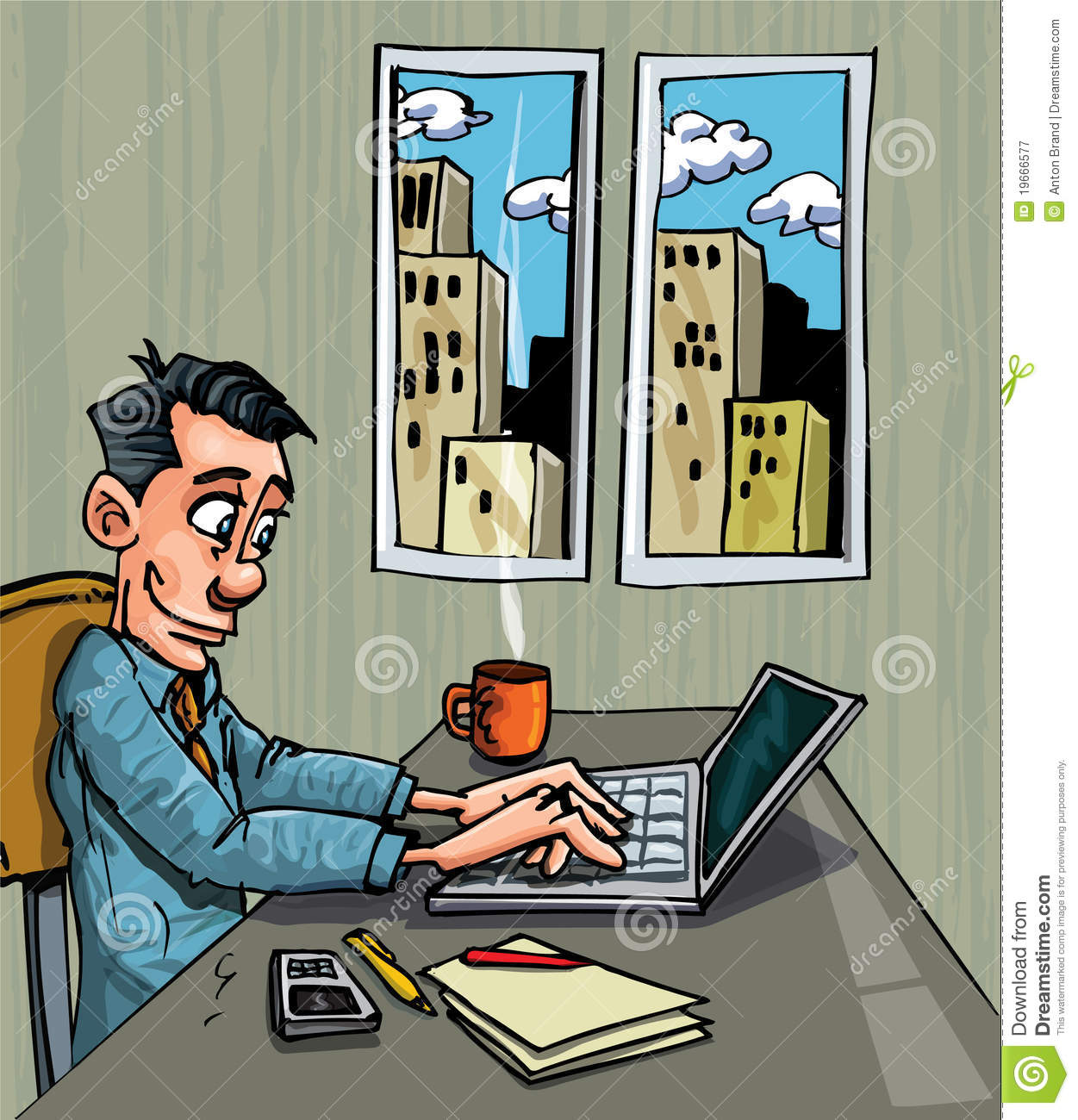 Cartoon Office Worker Busy On His Laptop Royalty Free