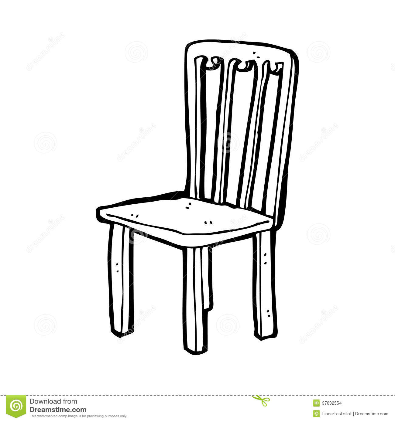 Black White Chair Cartoon Old Chair Stock Illustration Illustration Of