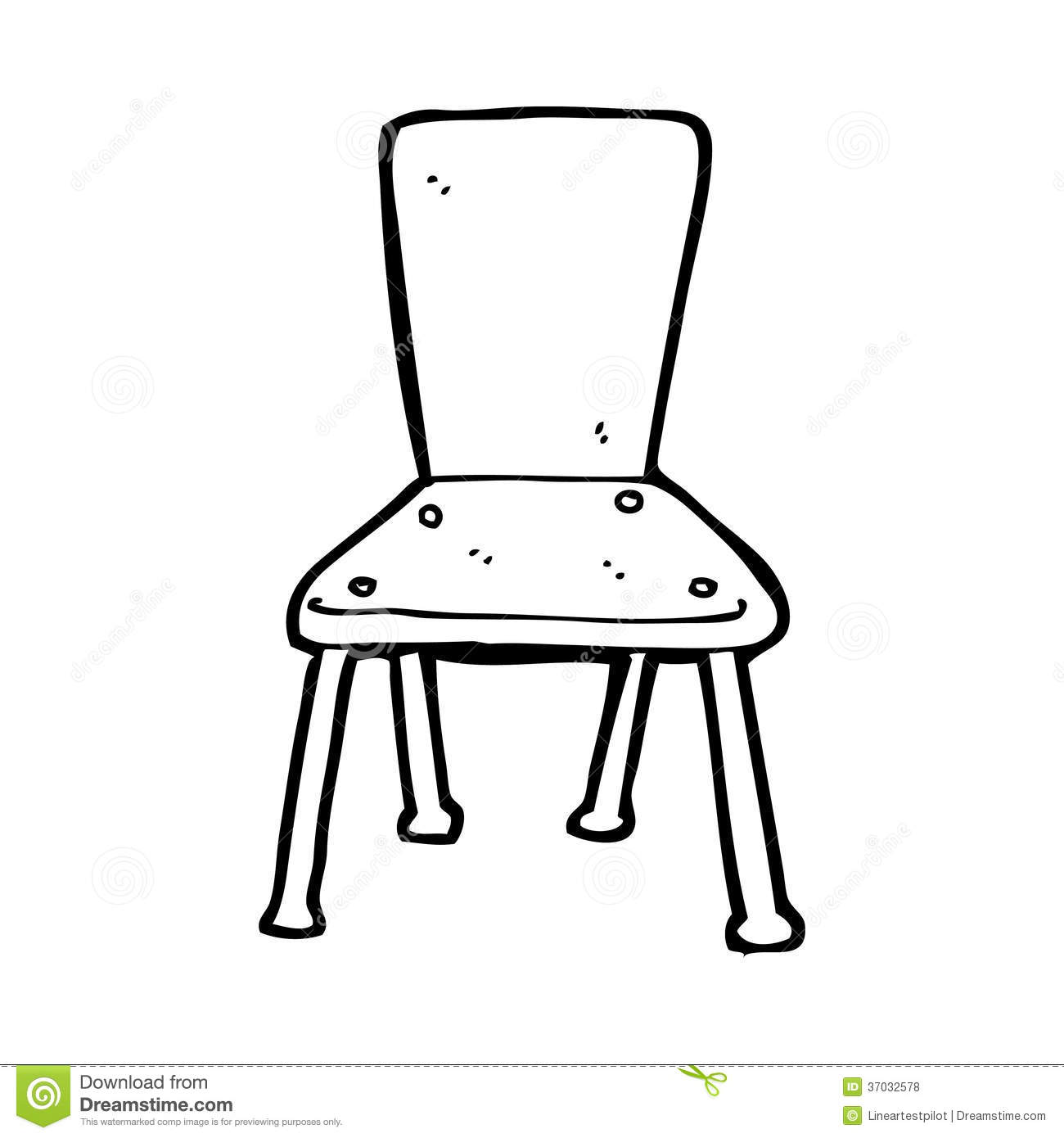 Cartoon Old School Chair Stock Illustration Illustration