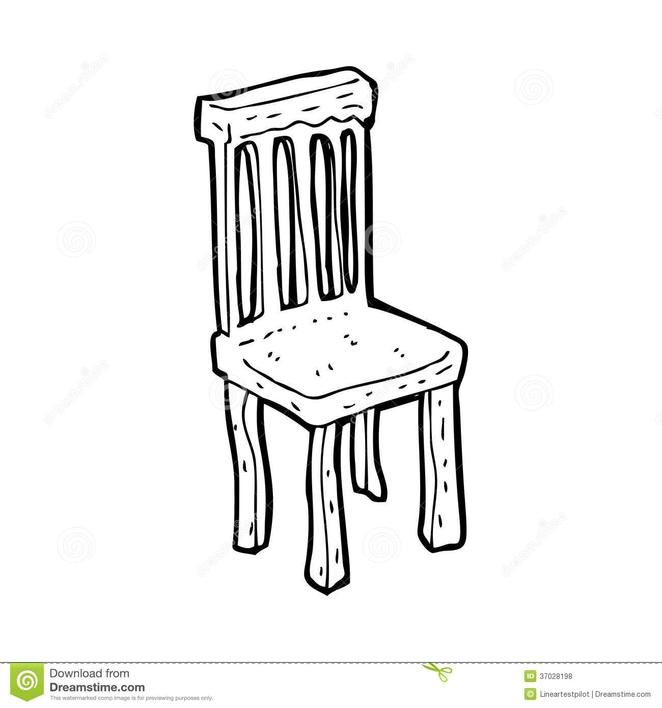 Black And White Chair Cartoon Old Wooden Chair Stock Illustration Illustration