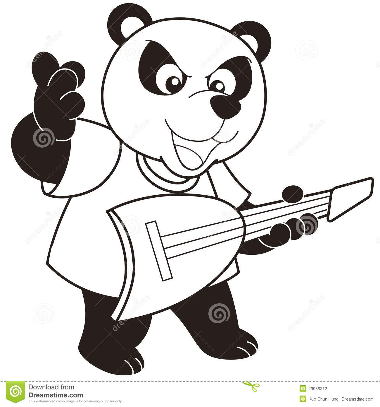 Cartoon Panda Playing An Electric Guitar Stock Vector