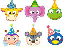 Cartoon Party Animal Icons Collection Royalty Free Stock ...