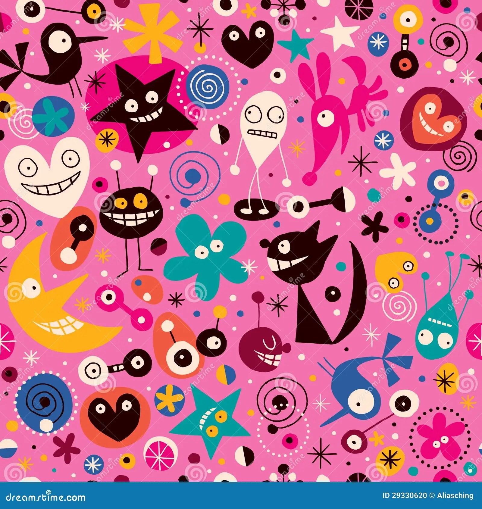 Wallpaper Cartoon Cute Pink Cartoon Pattern Stock Vector Image Of Hand Cartoon
