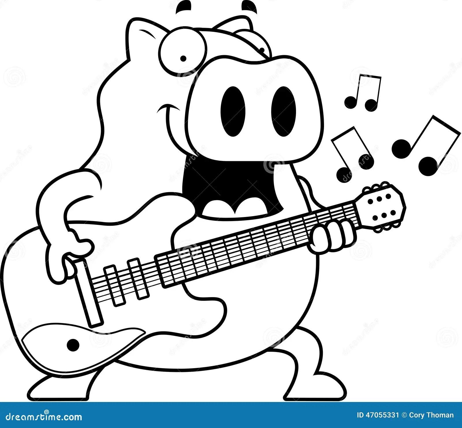 Cartoon Pig Guitar Stock Vector