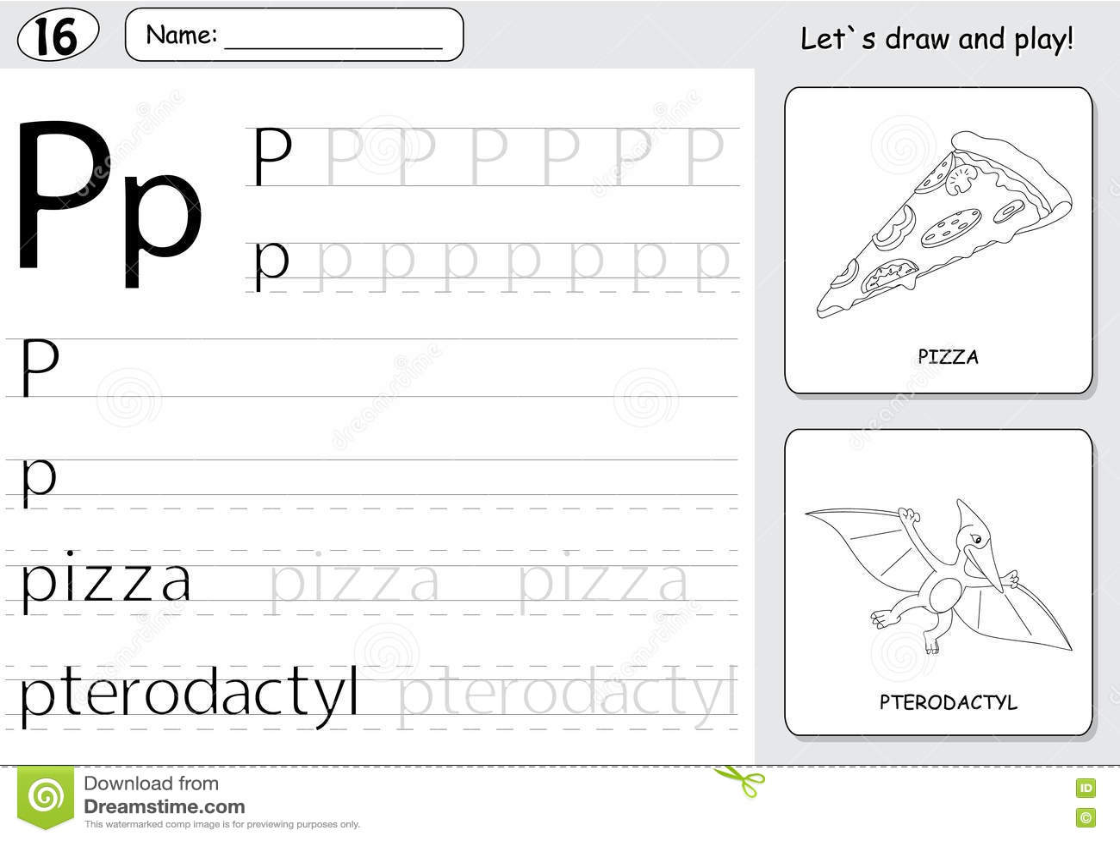 Cartoon Pizza And Pterodactyl Alphabet Tracing Worksheet