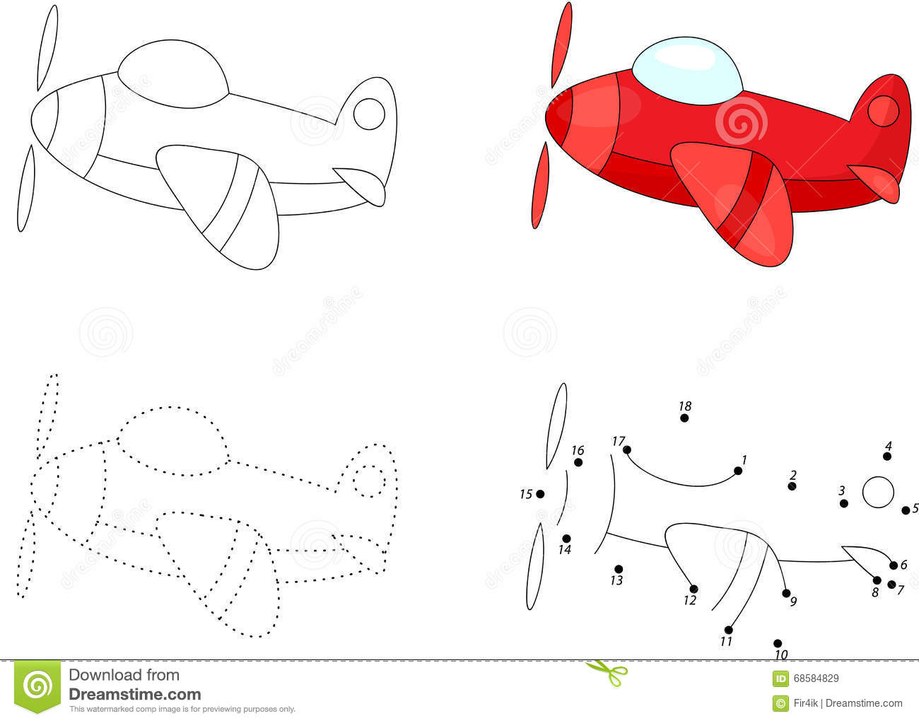 Cartoon Plane Dot To Dot Game For Kids Stock Vector