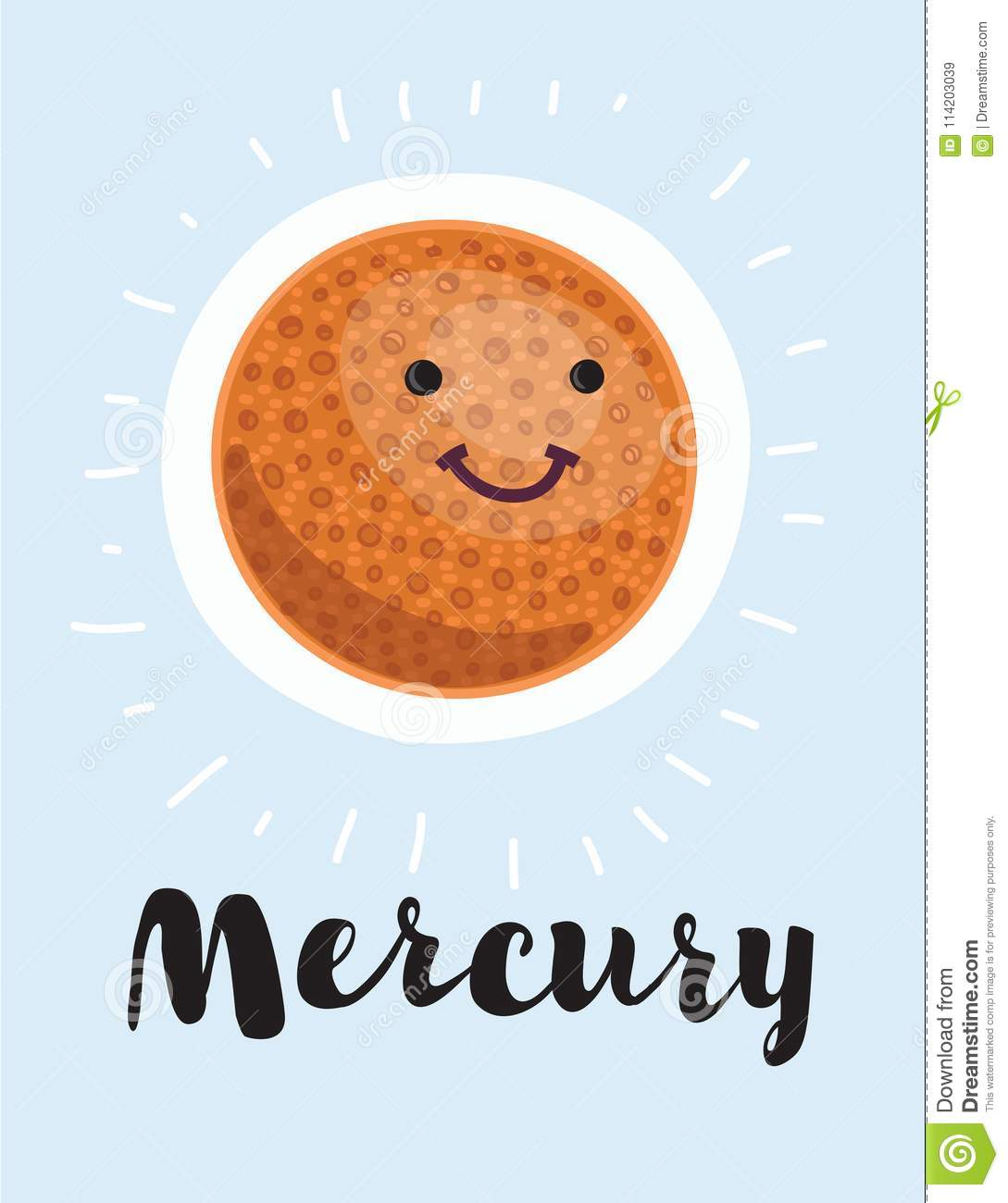 hight resolution of cartoon planet mercury vector clip art illustration with simple gradients all in a single layer