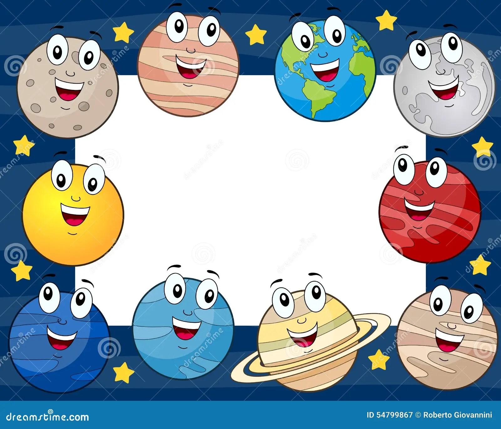 Cartoon Planets Horizontal Photo Frame Stock Vector