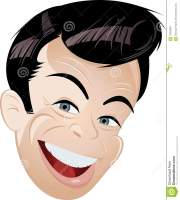 cartoon portrait of happy man stock