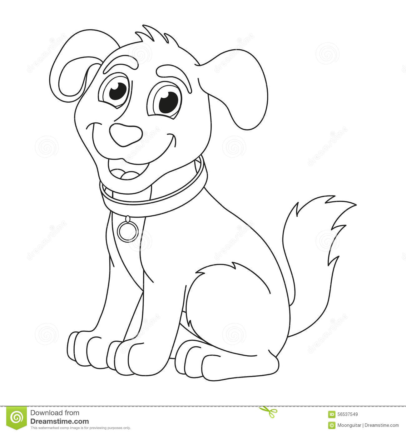 Cartoon Puppy, Coloring Book Page For Children Stock