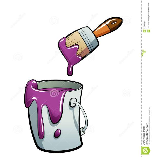 Cartoon Purple Color Paint In Bucket Painting With Stock Illustration